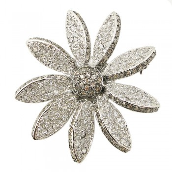 Sterling Silver Pin Champagne Cubic Zirconia Sided Petals Cubic Zirconia Daisy Flower