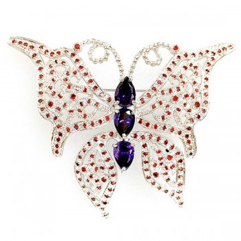 Sterling Silver Pin Garnet Cubic Zirconia Butterfly with Ame Cubic Zirconia Ctr