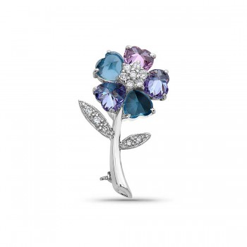 Sterling Silver Pin Lv+Pink Cubic Zirconia+Aqua Marine Glass Heart Petals Flower with Clear