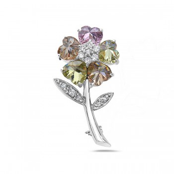 Sterling Silver Pin Light Per.+Champagne+Pink Cubic Zirconia Heart Petals Flower with Clear C