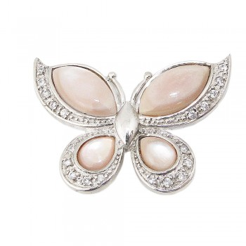 Sterling Silver Pin Pink Mother of Pearl Butterfly