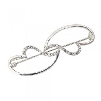 Sterling Silver Pin Plain+Clear Cubic Zirconia Aside Open Heart