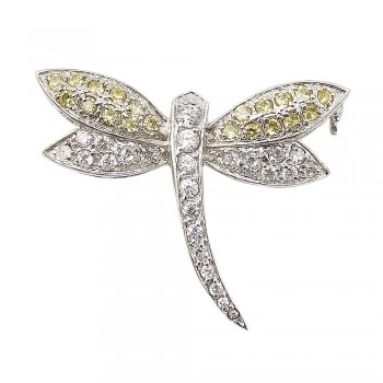 Sterling Silver Pin Yellow+Clear Cubic Zirconia Dragonfly