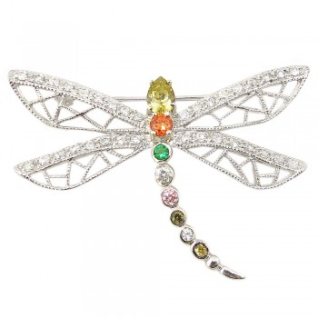 Sterling Silver Pin Oli+Garnet +Emrd Gr+Cl+Pink+Yellow Cubic Zirconia Dragonfly