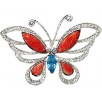 Sterling Silver Pin Aqua Marine Glass Ctr with Pink Color Coral Butterfly