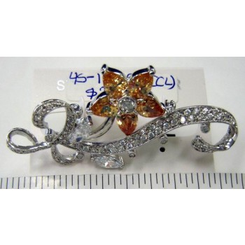 Sterling Silver Pin 5 Champagne Cubic Zirconia Petals Flower+ Clear Cubic Zirconia Marquis+Ribbon