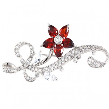 Sterling Silver Pin 5 Garnet Cubic Zirconia Petals Flower+ Clear Cubic Zirconia Marquis+Ribbon