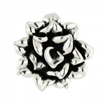 Sterling Silver Pin 45mm Plain Flower Motif Oxidized Inner Petals
