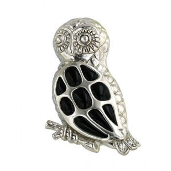 Sterling Silver Pin of Onyx Owl