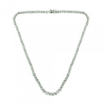 Brass Necklace Riviere Clear Cz, Clear