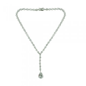 Brass Necklace Clear Cz Teardrop Links, Clear