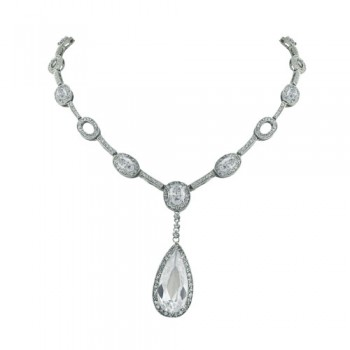 Brass Necklace Oval+Teardrop Clr Cz+Clear Cz Links, Clear