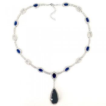 Brass Necklace Oval+Teardrop Syn. Sapphire Blue, Blue