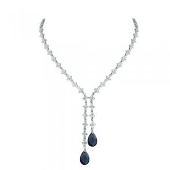 Brass Necklace Clear Cz Flower+Sapphire Glass Tear, Clear