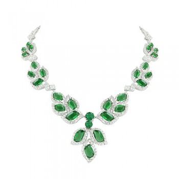 Brass Necklace Multi Wavy Emerald Glass +Clear Cz, Multicolor