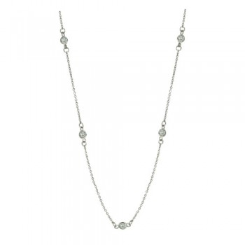 Brass Necklace 16'' W/ 7 Station 4Mm Clear Cz, Clear