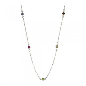 Brass Necklace 16'' W/ 7 Station 4Mm Multi Color C, Multicolor
