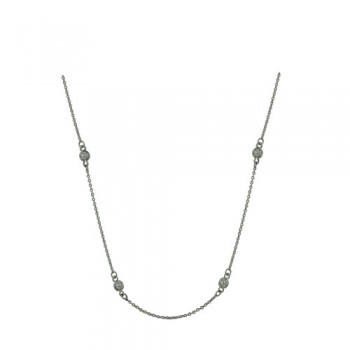 Brass Necklace 18'' W/ 8 Station 4Mm Clear Cz, Clear