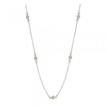 Brass Necklace 20'' 9 Station 4Mm Clear Cz, Clear