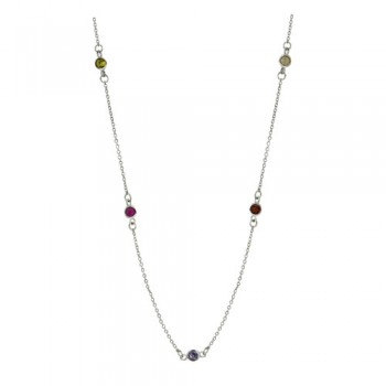 Brass Necklace 24'' 11 Station 4Mm Multi Color Cz, Multicolor