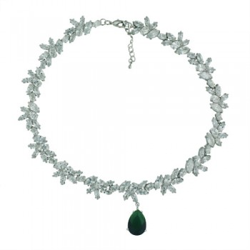 Brass Nckl 13*18Mm T-Drop Emerald Glass Match 2B-0