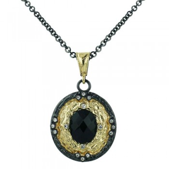 Brass Necklace Oval Black Cz Center Chess Cut, Black