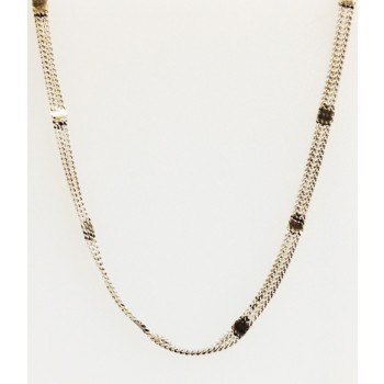 Sterling Silver Oxidized Chain Double 24 Inch
