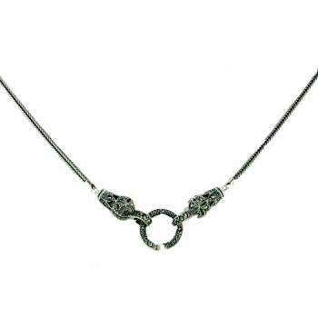 "Marcasite Necklace Open Locket Snake 20"" Foxtail Chain"