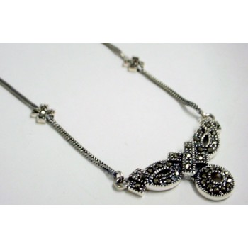 "Marcasite Necklace ""+,O"" Foxtail Chain"
