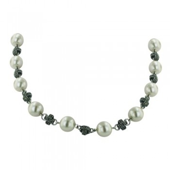Marcasite Necklace 18 In. White Glass Pearl with Marcasite 'X'+Toggle