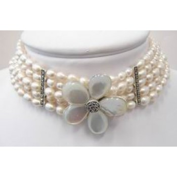 Marcasite Necklace 5 Strand White Fresh Water Pearl with Mother of Pearl Flower