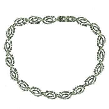 Marcasite Necklace 16 in Open Round Twisted Oxidized Rope