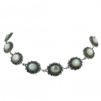 Marcasite Necklace Oval White Mother of Pearl+Marcasite Around Links