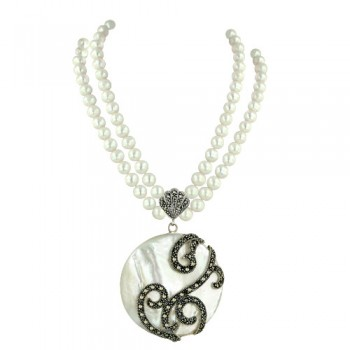 Marcasite Necklace 43mm Round White Mother of Pearl with Filigree+2 S