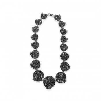 MARCASITE NECKLACE DISC PAVE FOLDOVER 17 LINKS