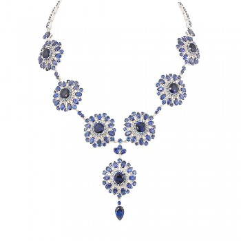 SS Necklace Sapphire Glass Flower Y Shaped Dangle, Silver