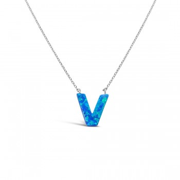 STERLING SILVER NECKLACE LAB CREATED BLUE OPAL INITIAL V