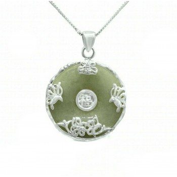 Sterling Silver Necklace 18 Inches Pi Donut Shape With Flower,