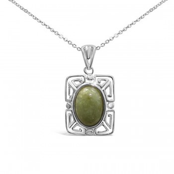 Sterling Silver Necklace Oval Green Jade Lucky Pattern Filigree