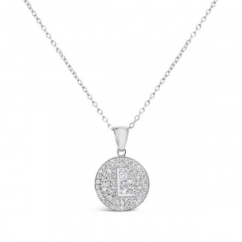 Sterling Silver Necklace Inital L Clear Cubic Zirconia Pave Base Round