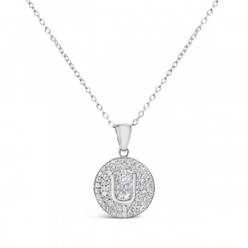 Sterling Silver Necklace Inital U Clear Cubic Zirconia Pave Base Round