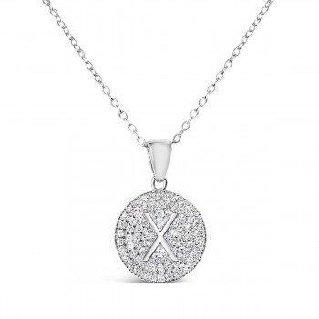Sterling Silver Necklace Inital X Clear Cubic Zirconia Pave Base Round