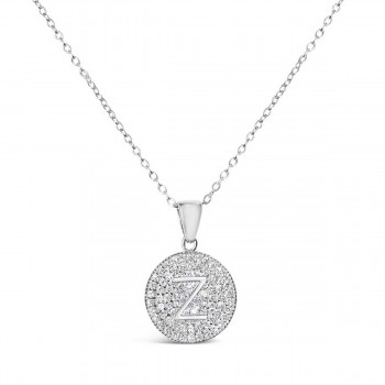 Sterling Silver Necklace Inital Z Clear Cubic Zirconia Pave Base Round