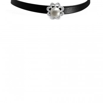 Sterling Silver Choker Faux Black Leather Fresh Water Pearl Flo
