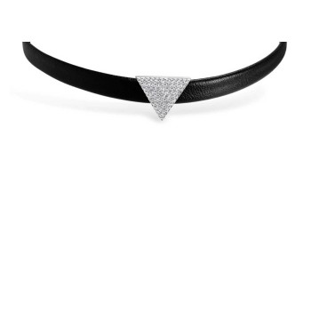 Sterling Silver Choker Faux Leather Triangle Clear Cubic Zirconia Pave