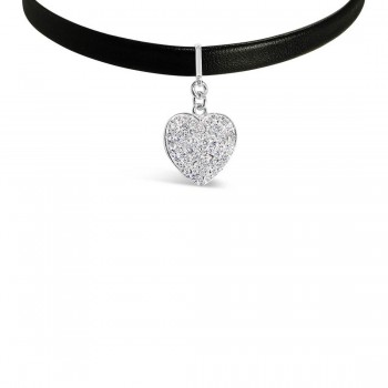 Sterling Silver Choker Black Fuax Leather Heart Pave Drop Exten