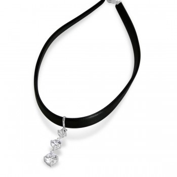 Sterling Silver Choker Black Faux Leather Clear Cubic Zirconia Drop Of Past