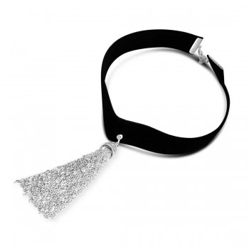 Sterling Silver Choker Black Velvet Flat Belt Drop Of Plain Tas