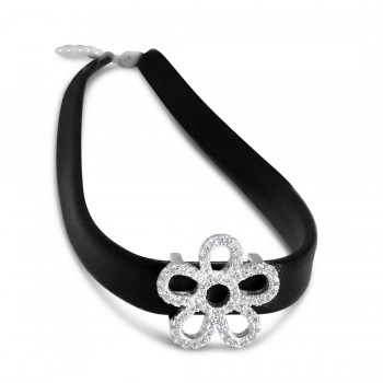 Sterling Silver Choker Flower Cubic Zirconia Lines Faux Black Belt