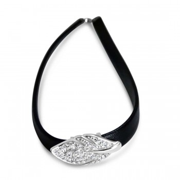 Sterling Silver Choker Pave Cubic Zirconia Leaf Black Faux Belt